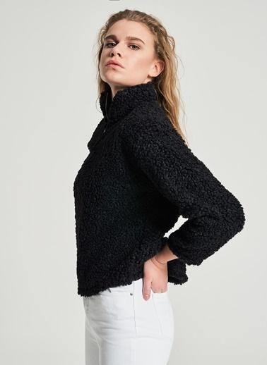 Pi π Peluş Fermuarlı Sweatshirt Siyah